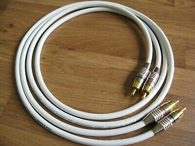 0.5m Pair - Van Damme RCA Phono Cables - Pro Grade Silver Plated Pure OFC White
