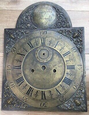 Vintage LONGCASE GRANDFATHER CLOCK Brass Arch Dial 12 Ins By 16 3/8 Ths