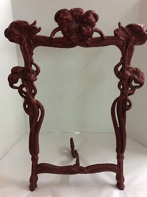 Antique Cast Iron Art Nouveau Ornate Picture Frame With Lilies Flowers Maroon