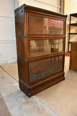 Antique Oak Lawyer's Barrister Bookcase by Globe Wernicke 3 Stack Units