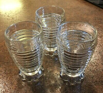 "3 Vintage Clear Color MANHATTAN DEPRESSION GLASS 5 1/4"" 10 oz Footed TUMBLERS"