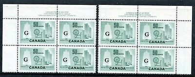 Weeda Canada O38 VF MNH UL & UR Plate #1 blocks, G officials CV $120