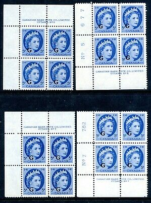 Weeda Canada O44 VF MNH/LH plate blocks, 5c Wilding 'G' officials CV $22.50