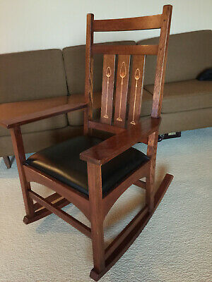L J.G. Stickley Harvey Ellis Mission Collection Oak Rocking Chair Rocker W Inlay