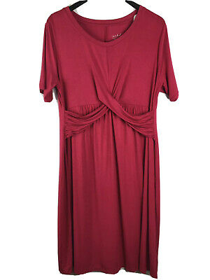 Liz Lange Large Maternity Dress Pink Cross Front Knit Swing 1/2 Sleeve Solid