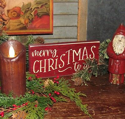 Primitive Antique Vtg Style Merry Christmas to All Engraved Sign Carved Block