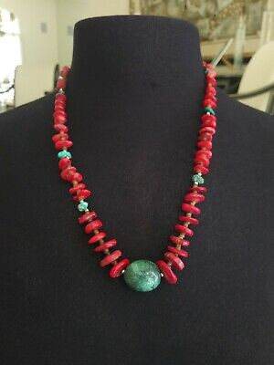 VTG. Navajo turquoise& coral JET STONE~  STERLING SILVER PLATED TOGGLE  Necklace