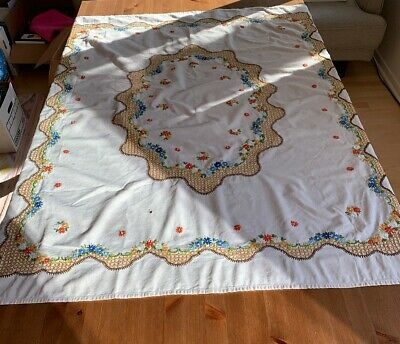 """Vintage Hand Embroidered Table Cloth Ivory Multi Color """"as-is"""" 46"""" X 54"""""""