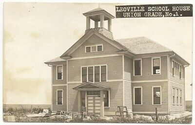 ca. 1910 Leoville School House, Kansas Real Photo Postcard (RPPC)