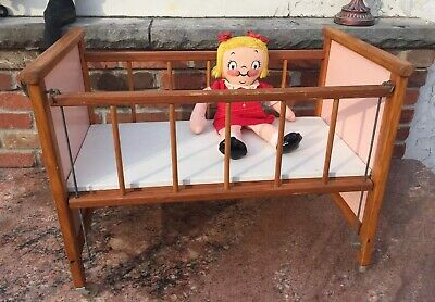 Vintage 1950s Whitney Brothers Wooden Doll Baby Crib Bed Wblocks