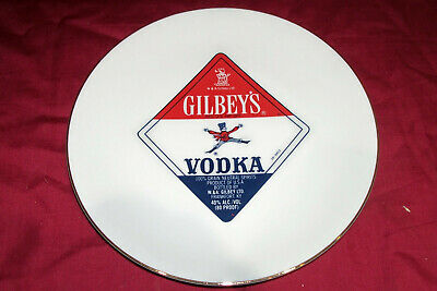 Vintage Gilbey's Vodka Regal China Distillery Display Advertising Sign Ad Plate