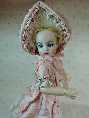 """FRENCH SILK DRESS  and  BONNET.. for SMALL BEBES..11"""".........PINK"""