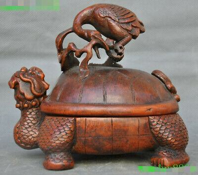 Old China Bamboo root wood carved Dragon turtle tortoise Crane birds statue box