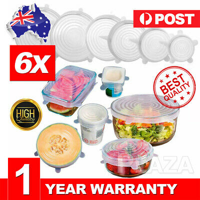 6PCS Stretch Reusable Silicone Bowl Wraps Food Saver Cover Seal Insta Lids MN AU