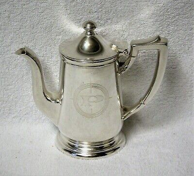 Vintage Prudential Line Cruise Ship Silver Soldered Coffee-Tea Pot Logo Marked