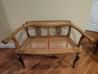 Solid Padauk Wood Lyre Back Cane Seat Settee and Chairs