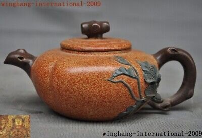 """7""""Marked Old Chinese Yixing zisha pottery Hand-carved melon teapot pot Tea maker"""