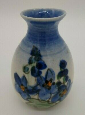 Vintage Australian pottery Small Vase Textured Floral Hand painted Design Signed