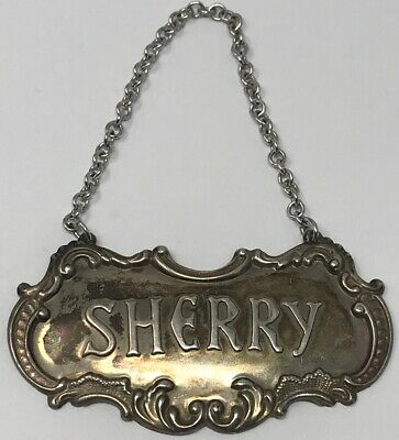 Vintage Gorham Sterling Silver Sherry Liquor Bottle Decanter Tag Label