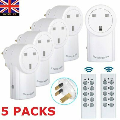 Remote Control Sockets Wireless Switch Home Mains UK Plug AC Power Outlet 5 Pack
