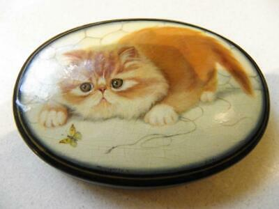 Russian RARE Vintage Black Lacquer Trinket Box - Hand Painted Ginger Cat C.1920