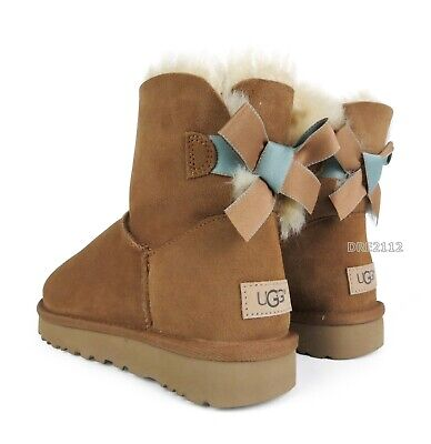 061f6c89399 UGG WOMEN'S MINI Bailey Bow II 2 Chestnut Suede New With Box ...