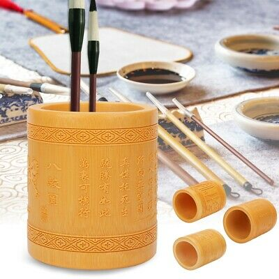 Multifunction Bamboo Pen Pencil Holder Desk Stationery Organizer Round Container