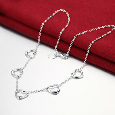 wholesale 925 Silver wedding Necklace Jewelry charm women lady Heart love chain
