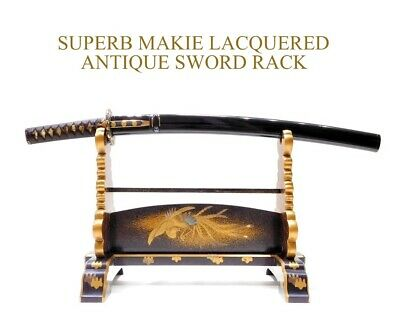 SUPERB Gold MAKIE Lacquered Sword Rack 19thC Japan Edo Meiji Original Antique