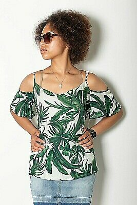 New Womens Ex Lipsy Off White with Green Palm Print Cold Shoulder Top Size 6-18