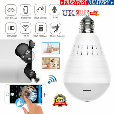 360°HD Wifi Bulb Hidden IP Camera LED Panoramic Home Security Spy Light CCTV CAM