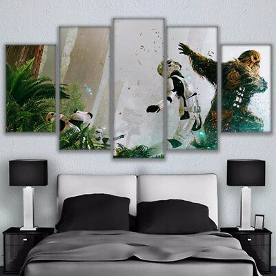 Star Wars Chewbacca And Stormtroopers 5 Panel Canvas Print Wall Art Home Decor