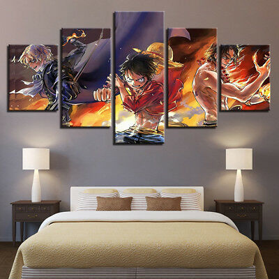 One Piece Cartoon Characters Poster 5 Panel Canvas Print Wall Art Home Decor