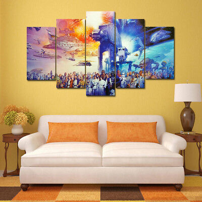 Star Wars Movie Characters Poster 5 Panel Canvas Print Wall Art Home Decor