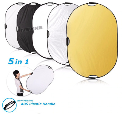 Portable Photography Collapsible 5 in 1 Oval Light Reflector Disc with Handle