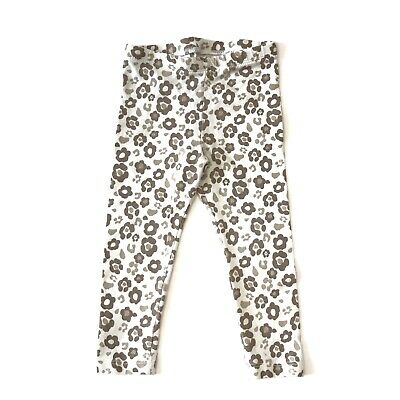 Circo Toddler Girl Brown and Cream Floral Cheetah Print Stretch Leggings Size 2T