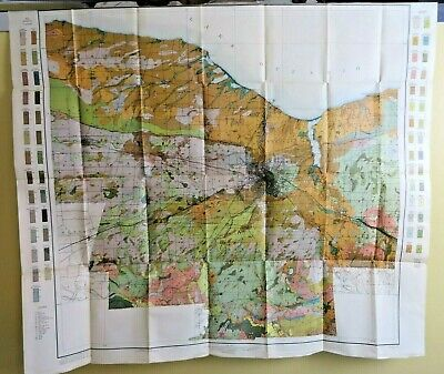 1910 Antique Color Map Monroe County New York Rochester Fairport 37 X 33 #0414