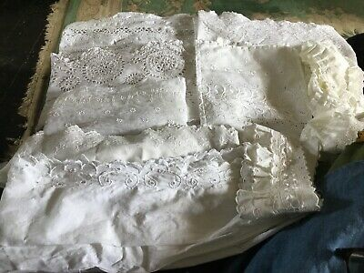 Antique Vintage Large Lot Of Embroidery Anglais Lengths Trims Pieces 17yds