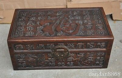 "16""old chinese huanghuali wood hand-carved fu 福 statue storage Jewelry box boxes"