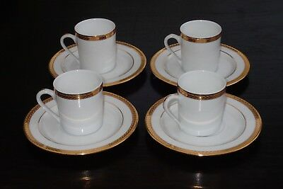 4 TASSE A CAFE + SOUCOUPES  PHILIPPE DESHOULIERES LIMOGES modele laurier or
