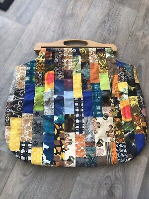 Vintage Knitting Bag With Patchwork Florals Design & Wooden Handles Retro Kich