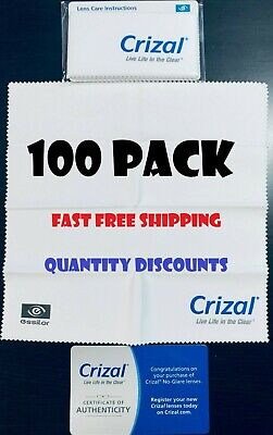 100 CRIZAL Large Sealed Microfiber Cleaning Cloth Glasses Phone Lens Sunglasses