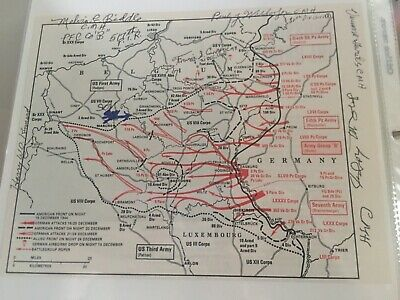 5 MOH Vets and Bastogne VET SIGNED Battle of the Bulge Map - MUSTC