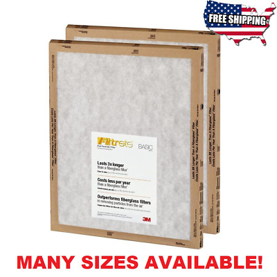 3M Filtrete Basic White Flat Panel Air Furnace Filter Count of 2, 4, 8 Filters