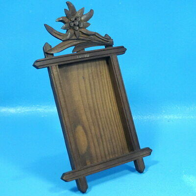 3x5 Swiss Antique Black Forest Carved TABLE PHOTO FRAME Edelweiss Luzern Brienz
