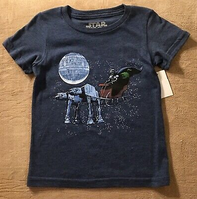 Star Wars Darth Vader Baby Boy T-Shirt Christmas Themed Blue Size 3T - NEW