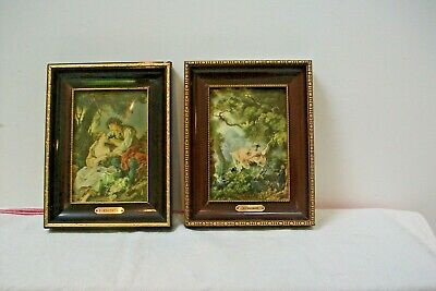2 vintage french Picture Rococo gold framed  renaisance 114tp  Romantic
