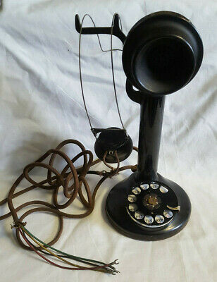 Vtg Western Electric Wired Rotary Dial Candle stick phone Black
