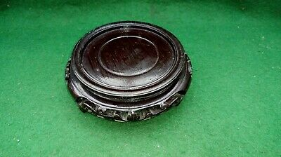 Decorative Round wooden oriental style plinth-  vase stand - in black