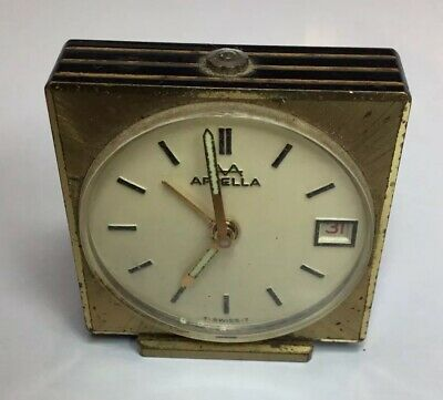 Vintage Brass Case Swiss  APPELLA Time / Date small Travel Alarm Clock